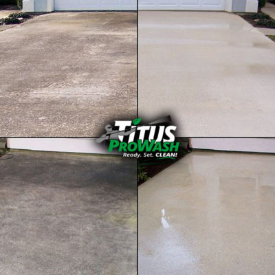 Examples of Concrete Driveway and Patio Cleaning Before & After