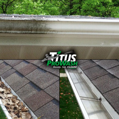 Examples of Gutter Exterior Cleaning and Gutter Cleanout Before & After